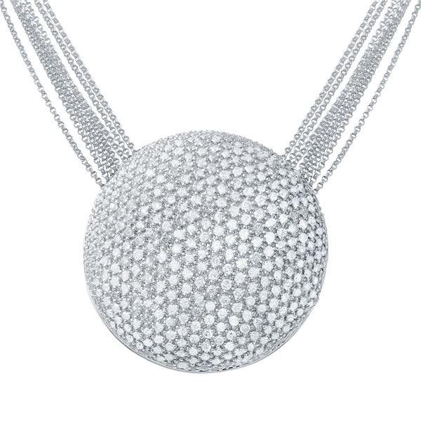 Natural 6.78 CTW Diamond Necklace 14K White Gold - REF-541F8M