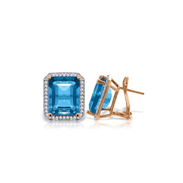 Genuine 15.6 ctw Blue Topaz & Diamond Earrings 14KT Rose Gold - REF-136F3Z