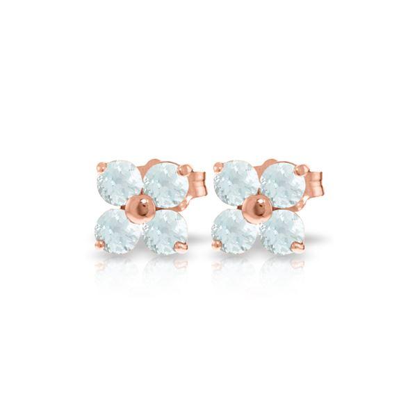 Genuine 1.15 ctw Aquamarine Earrings 14KT Rose Gold - REF-22X2M