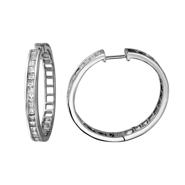 1.77 CTW Princess Diamond Hoop Earring 14K White Gold - REF-281M8H