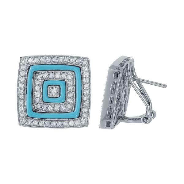 Natural 2.21 CTW Turquoise & Diamond Earrings 14K White Gold - REF-100W8H
