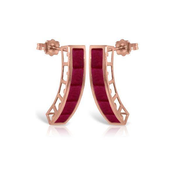 Genuine 5 ctw Ruby Earrings 14KT Rose Gold - REF-51Y8F
