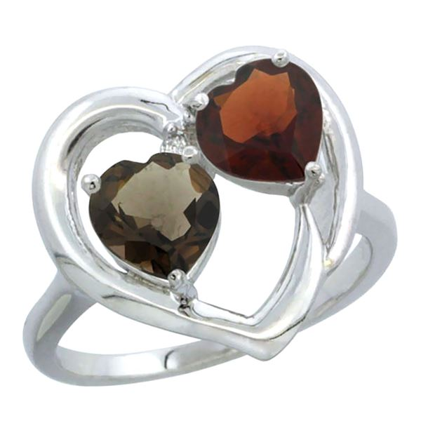 2.61 CTW Diamond, Quartz & Garnet Ring 14K White Gold - REF-33M9A