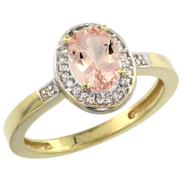 0.82 CTW Morganite & Diamond Ring 10K Yellow Gold - REF-34X3M