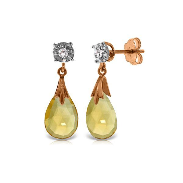 Genuine 6.06 ctw Citrine & Diamond Earrings 14KT Rose Gold - REF-37X4M