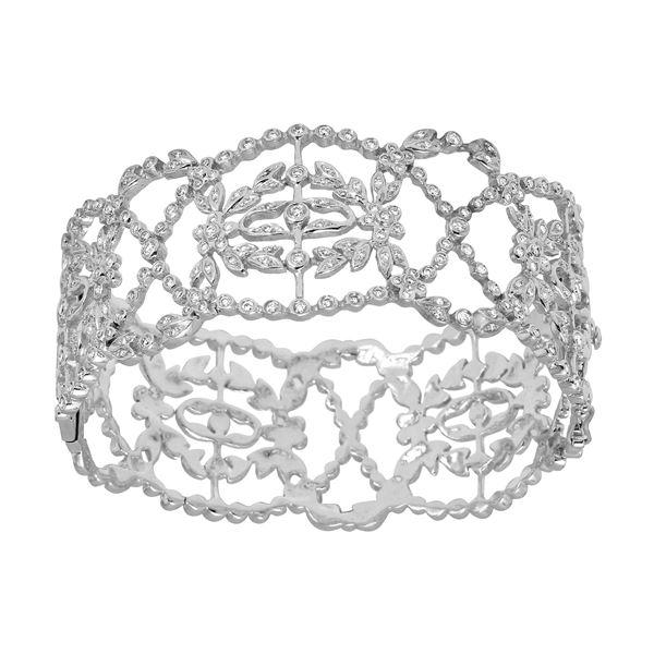 Natural 1.20 CTW Diamond Bangle 14K White Gold - REF-399T6X