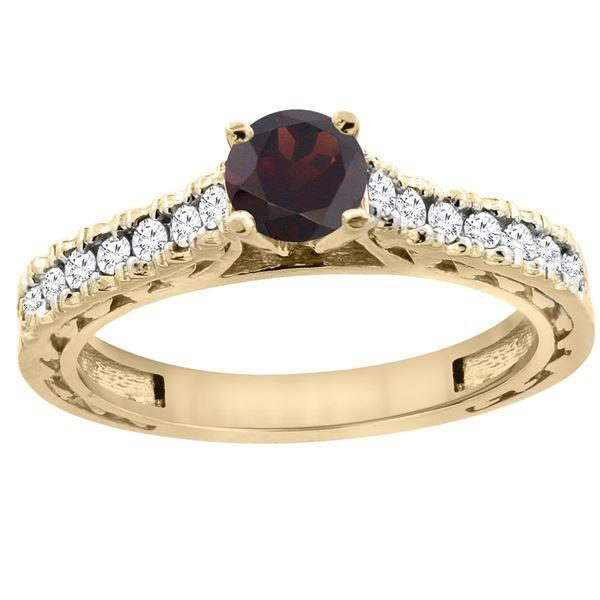 0.90 CTW Garnet & Diamond Ring 14K Yellow Gold - REF-62A5X