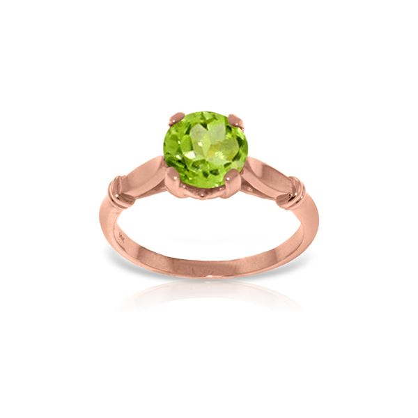 Genuine 1.15 ctw Peridot Ring 14KT Rose Gold - REF-51A4K