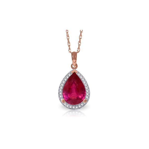 Genuine 5.51 ctw Ruby & Diamond Necklace 14KT Rose Gold - REF-98Z3N
