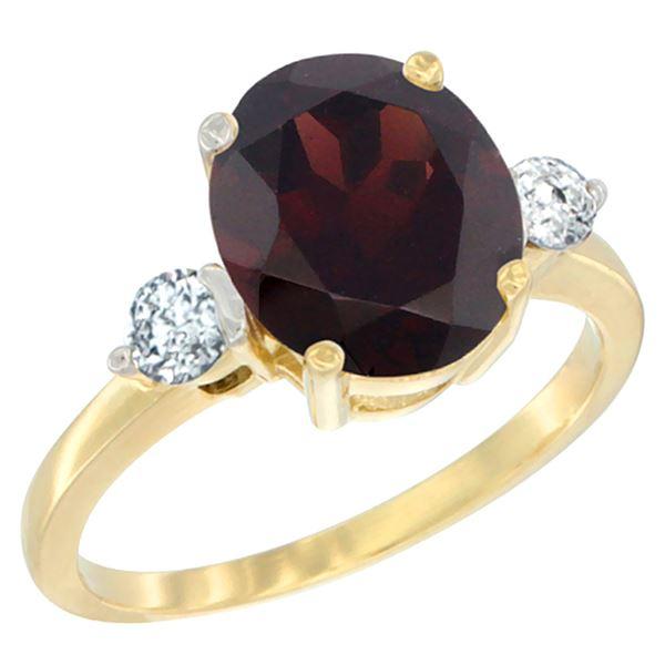 2.60 CTW Garnet & Diamond Ring 14K Yellow Gold - REF-70F9N