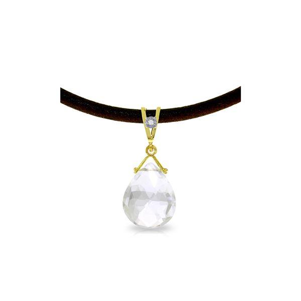 Genuine 6.51 ctw White Topaz & Diamond Necklace 14KT Yellow Gold - REF-26N9R