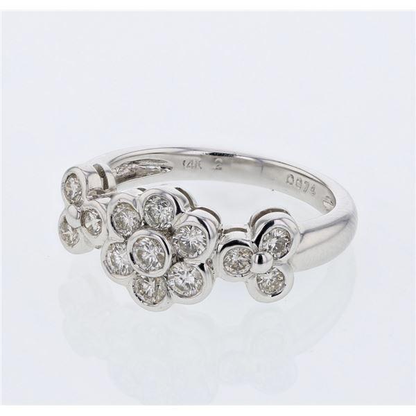 Natural 0.74 CTW Diamond Ring 14K White Gold - REF-90T2X