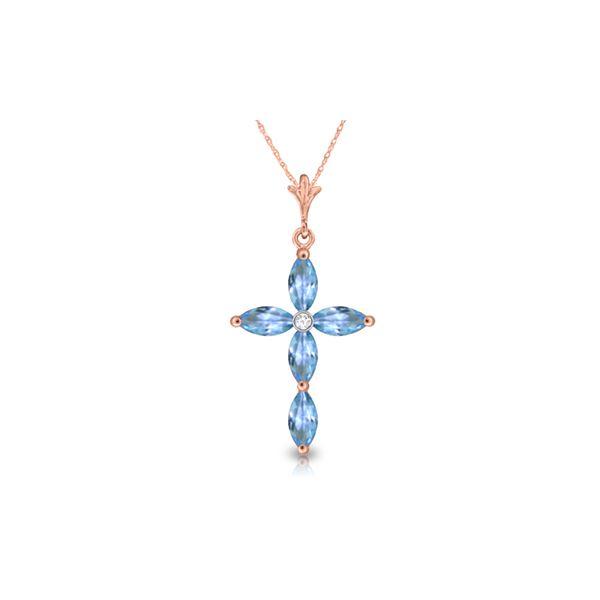 Genuine 1.10 ctw Blue Topaz & Diamond Necklace 14KT Rose Gold - REF-30R3P