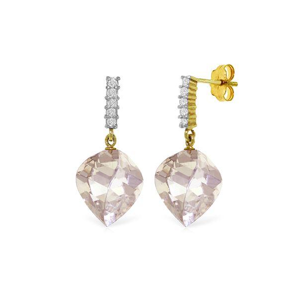 Genuine 25.75 ctw White Topaz & Diamond Earrings 14KT Yellow Gold - REF-60T7A