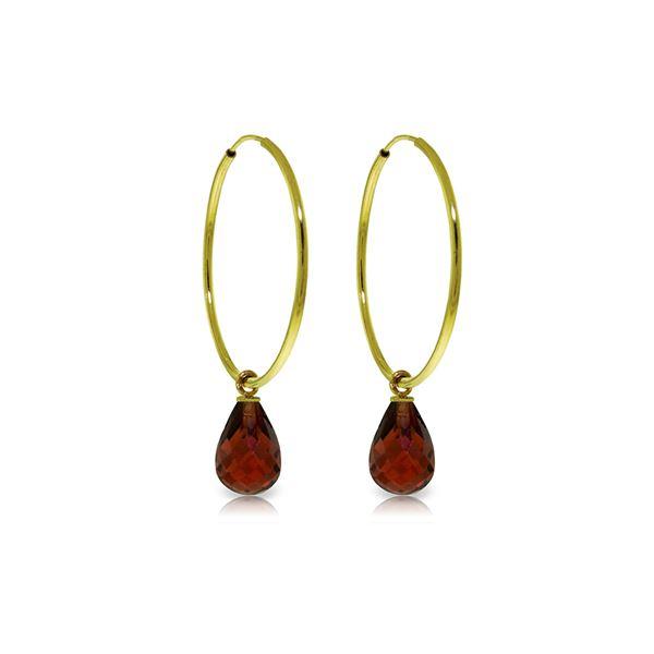 Genuine 4.5 ctw Garnet Earrings 14KT Yellow Gold - REF-26H2X