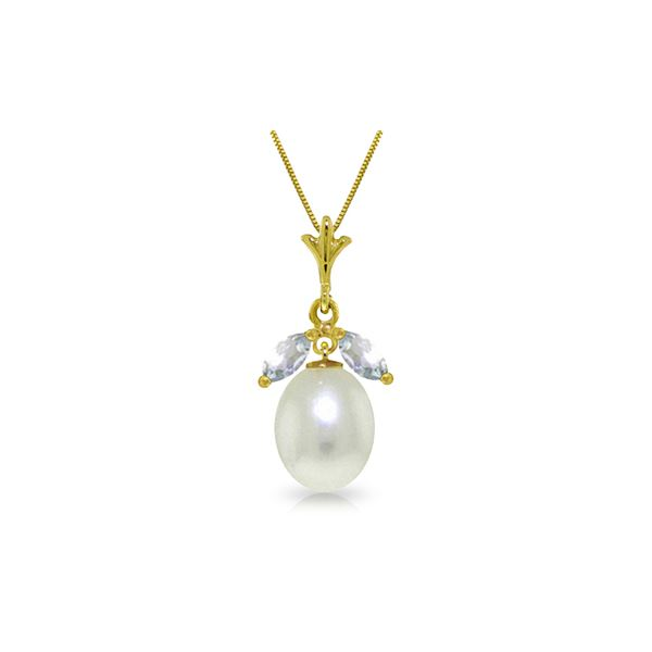 Genuine 4.5 ctw Pearl & Aquamarine Necklace 14KT Yellow Gold - REF-24T5A