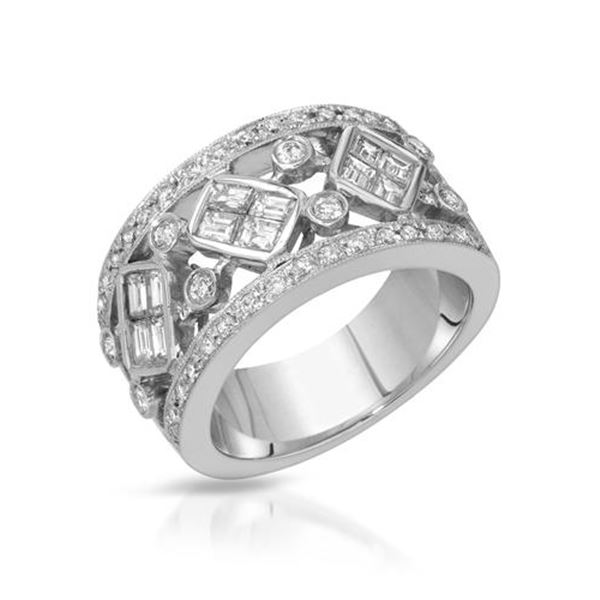 Natural 1.42 CTW Diamond & Baguette Ring 18K White Gold - REF-284W4H
