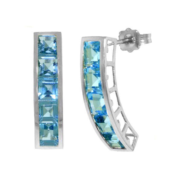 Genuine 4.5 ctw Blue Topaz Earrings 14KT White Gold - REF-38P5H