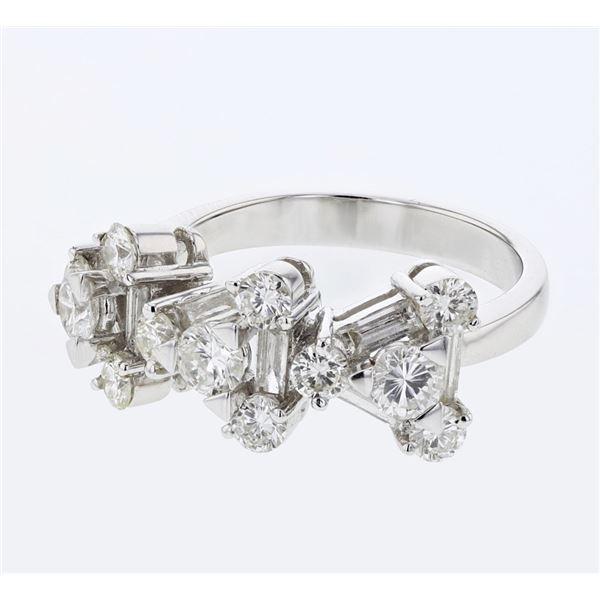 Natural 1.95 CTW Diamond & Baguette Ring 18K White Gold - REF-270T9X
