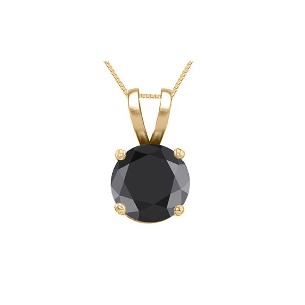 14K Yellow Gold 0.75 ct Black Diamond Solitaire Necklace - REF-53Z7A