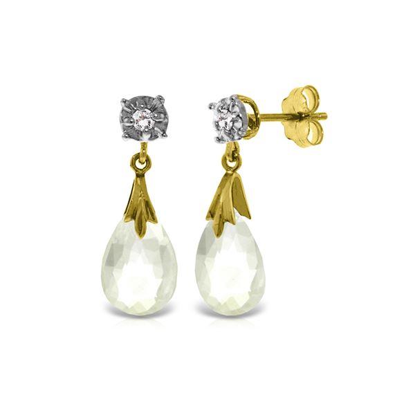 Genuine 6.06 ctw White Topaz & Diamond Earrings 14KT Yellow Gold - REF-37X4M