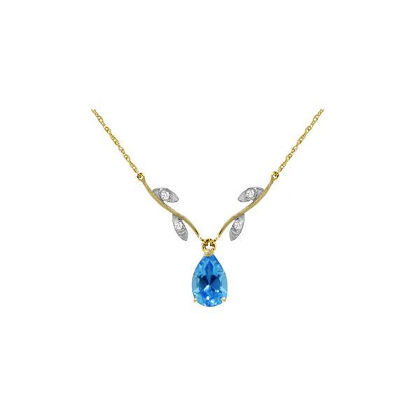 Genuine 1.52 ctw Blue Topaz & Diamond Necklace 14KT Yellow Gold - REF-30N7R