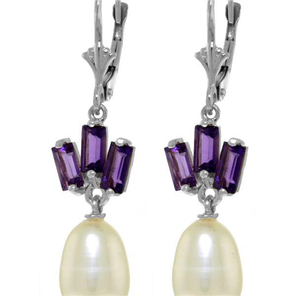 Genuine 9.35 ctw Pearl & Amethyst Earrings 14KT White Gold - REF-26P6H