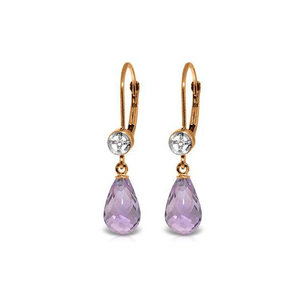 Genuine 4.53 ctw Amethyst & Diamond Earrings 14KT Rose Gold - REF-29Z3N