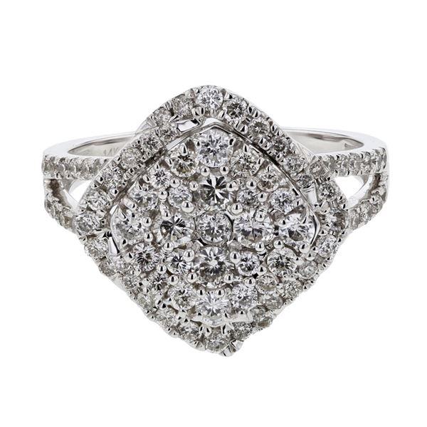 Natural 1.46 CTW Diamond Ring 14K White Gold - REF-167T4X