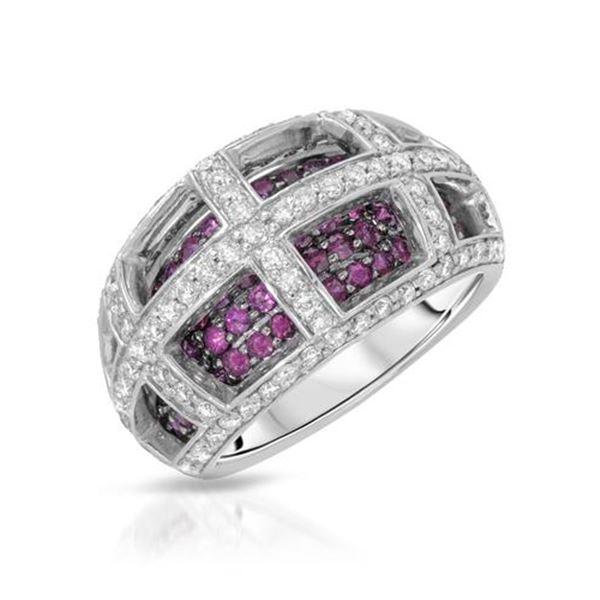 Natural 2.22 CTW Ruby & Diamond Ring 14K White Gold - REF-135W2H