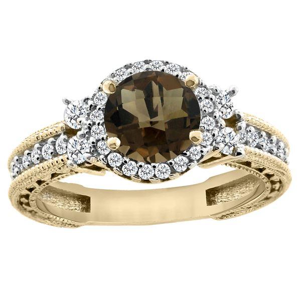 1.46 CTW Quartz & Diamond Ring 14K Yellow Gold - REF-77V4R
