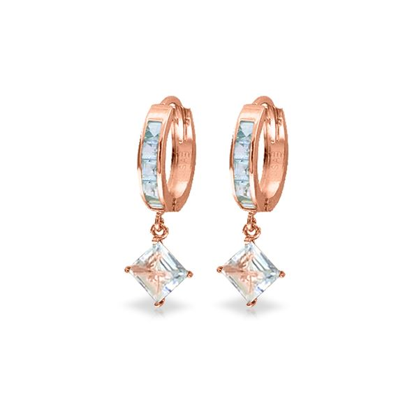 Genuine 4 ctw Aquamarine Earrings 14KT Rose Gold - REF-62Y6F