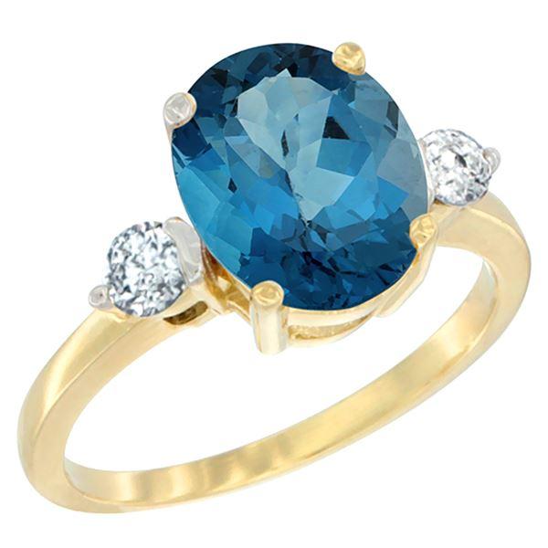 2.60 CTW London Blue Topaz & Diamond Ring 10K Yellow Gold - REF-62W5F