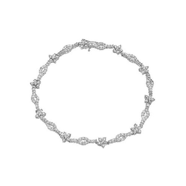 Natural 2.83 CTW Diamond & Brown Round Diamond Bracelet 14K White Gold - REF-131F4M