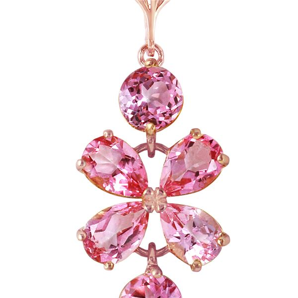Genuine 3.15 ctw Pink Topaz Necklace 14KT Rose Gold - REF-30T3A