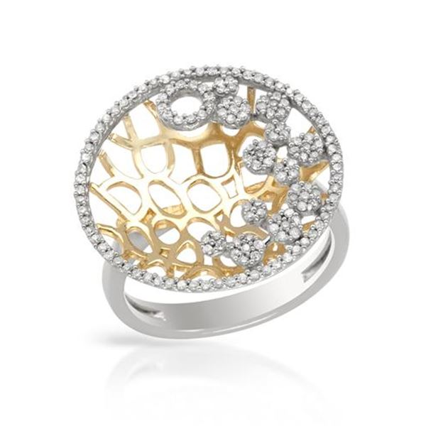 Natural 0.52 CTW Diamond Ring 14K Two Tone Yellow Gold - REF-68N4Y