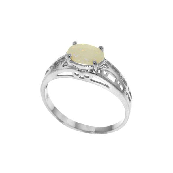 Genuine 0.45 ctw Opal Ring 14KT White Gold - REF-29M7T