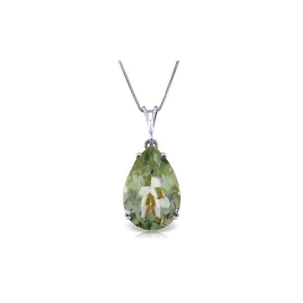 Genuine 5 ctw Green Amethyst Necklace 14KT White Gold - REF-30F3Z