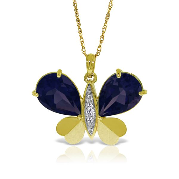 Genuine 10.60 ctw Sapphire & Diamond Necklace 14KT Yellow Gold - REF-181T9A
