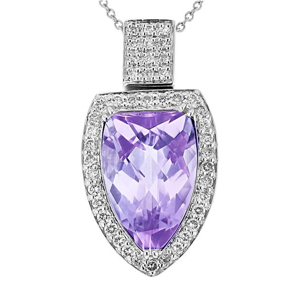 Natural 6.84 CTW Amethyst & Diamond Necklace 14K White Gold - REF-80K3R