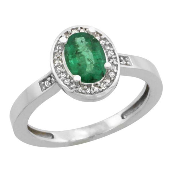 1.15 CTW Emerald & Diamond Ring 14K White Gold - REF-44N2Y