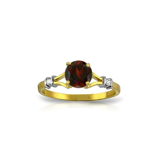 Genuine 1.07 ctw Garnet & Diamond Ring 14KT Yellow Gold - REF-27M8T