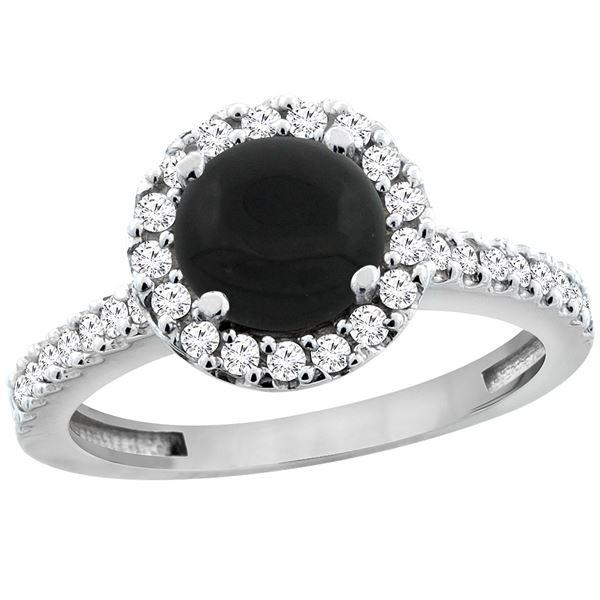 1.02 CTW Onyx & Diamond Ring 14K White Gold - REF-59R9H