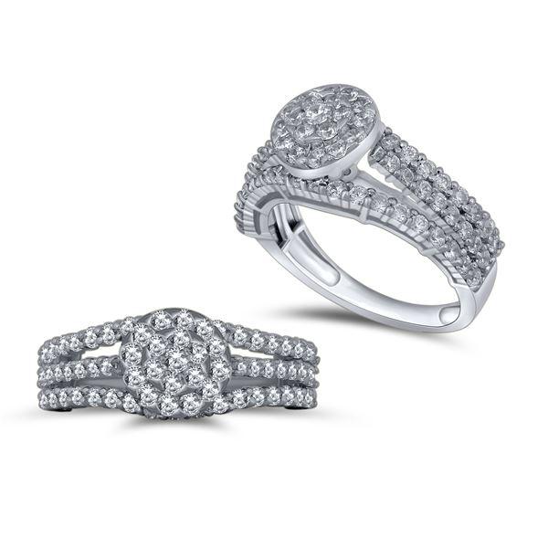 Natural 1.40 CTW Diamond Ring 14K White Gold - REF-138K6R
