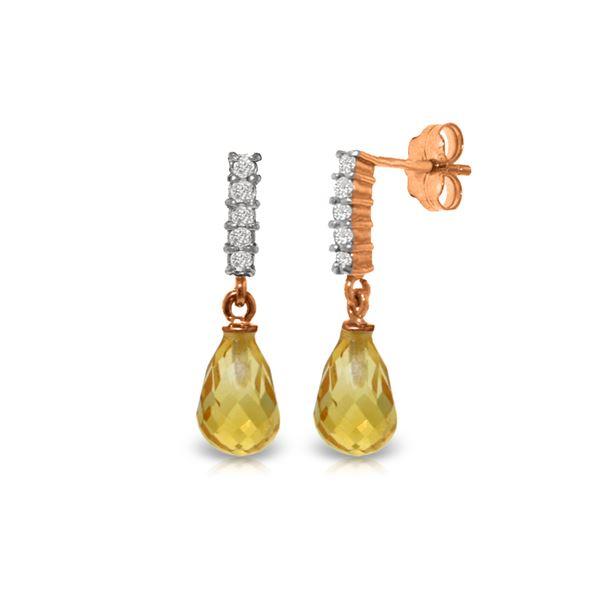 Genuine 4.65 ctw Citrine & Diamond Earrings 14KT Rose Gold - REF-36P2H