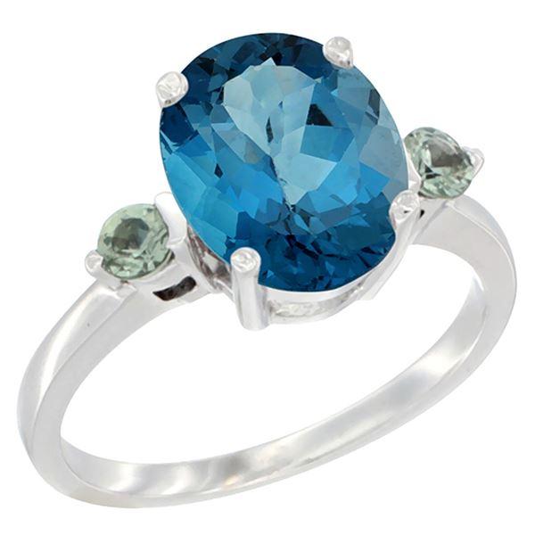 2.64 CTW London Blue Topaz & Green Sapphire Ring 14K White Gold - REF-32N8Y