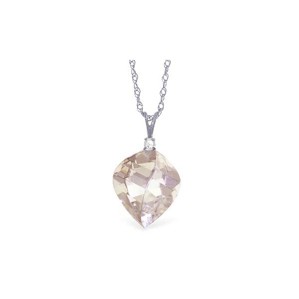 Genuine 12.85 ctw White Topaz & Diamond Necklace 14KT White Gold - REF-31W4Y