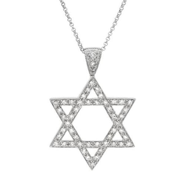 Natural 0.50 CTW Diamond Necklace 14K White Gold - REF-57F6M