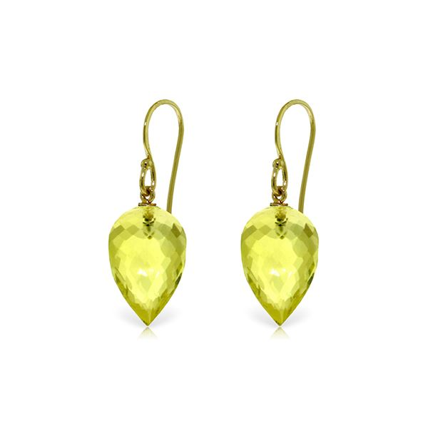 Genuine 18 ctw Quartz Lemon Earrings 14KT Yellow Gold - REF-22M2T