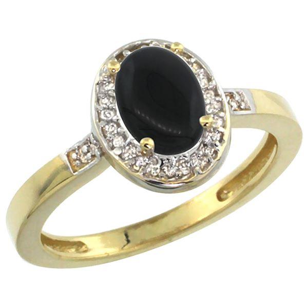0.90 CTW Onyx & Diamond Ring 14K Yellow Gold - REF-37V3R